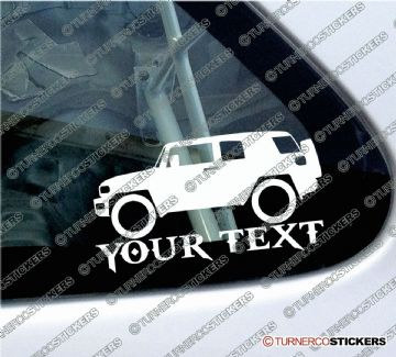 2x Custom YOUR TEXT Lowered car stickers - Toyota FJ Cruiser (NON rack version) 4x4